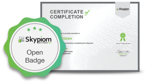 Open badge and certificate